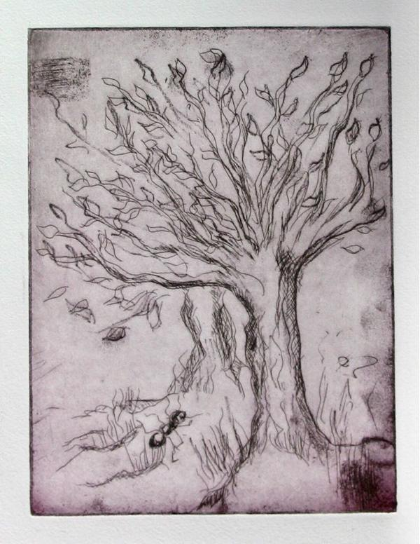 Journey of the Ant, Size: 15 x 20 etching on handmade paper, 1/10