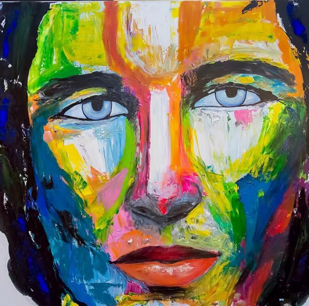 Richard, 2014, mix fluorescent on canvas, Size: 100 x 100 cm